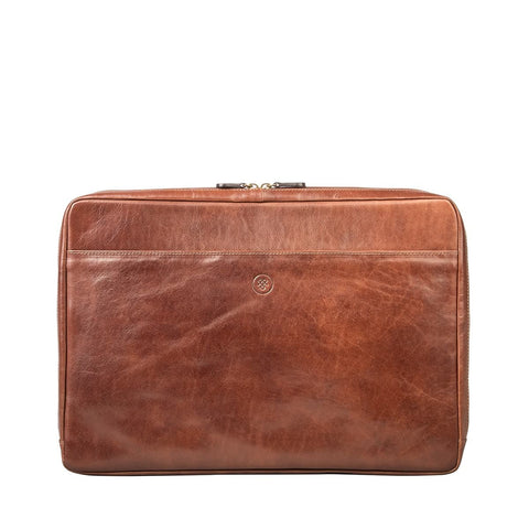 "Tan Davoli 17"" Leather Laptop Case / Sleeve"
