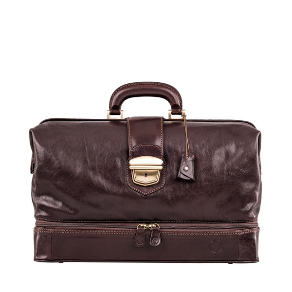 Chocolate Donnini Large Leather Doctor Bag - IndependentBoutique.com