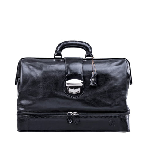 Black Donnini Large Leather Doctor Bag - IndependentBoutique.com