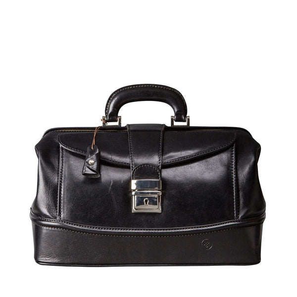 Black Donnini Small Leather Doctor Bag - IndependentBoutique.com