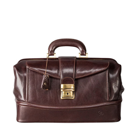 Chocolate Donnini Small Leather Doctor Bag - IndependentBoutique.com