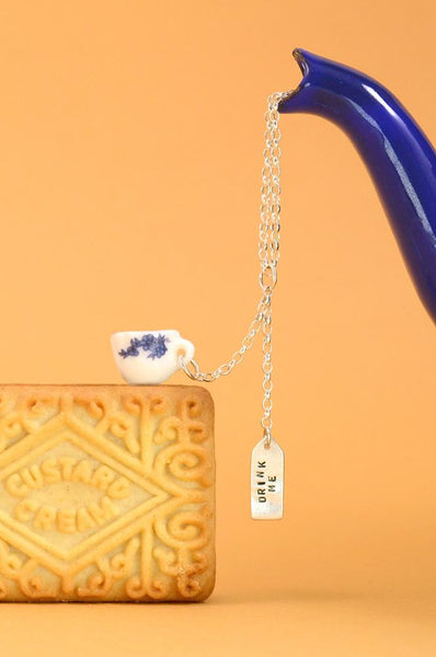 Silver Drink Me Teacup Necklace - IndependentBoutique.com