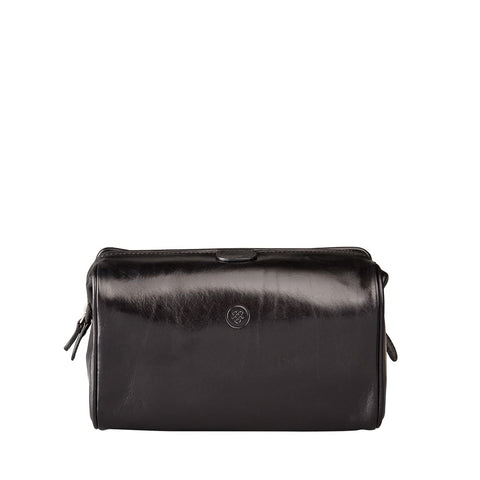 Black Duno Medium Leather Travel Wash Bag