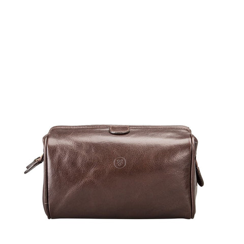 Chocolate Duno Medium Leather Travel Wash Bag - IndependentBoutique.com