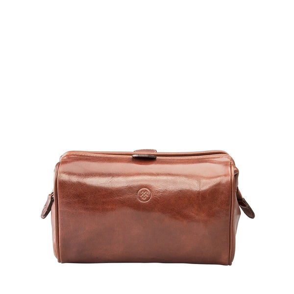 Tan Duno Medium Leather Travel Wash Bag