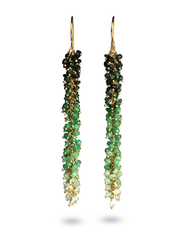 emerald green dangly gold drop earrings from british jewellery Designer Kate Wood.