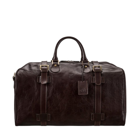 Chocolate Flero Large Leather Overnight Bag - IndependentBoutique.com