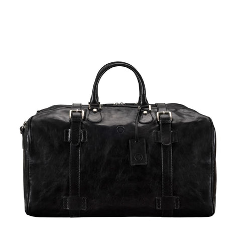 Black Flero Large Leather Overnight Bag - IndependentBoutique.com