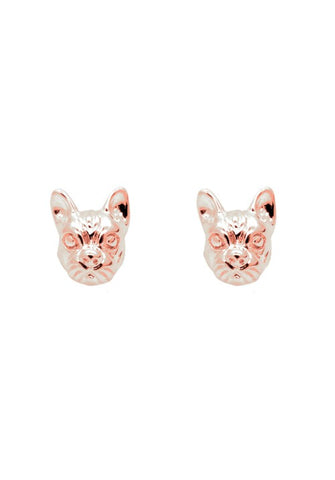FRENCHIE FACE STUDS IN ROSE GOLD