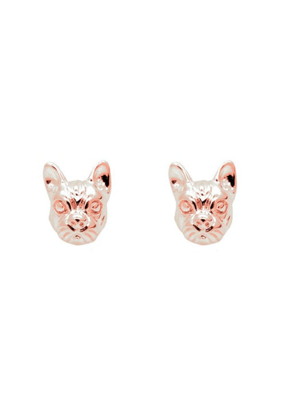 Rose Gold French Bulldog Stud Earrings - IndependentBoutique.com