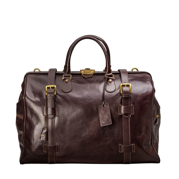 The Chocolate Gassano Large Luxury Leather Gladstone Holdall - IndependentBoutique.com