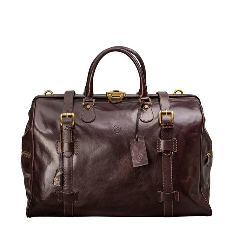 Chocolate Gassano Medium Luxury Leather Gladstone Holdall - IndependentBoutique.com