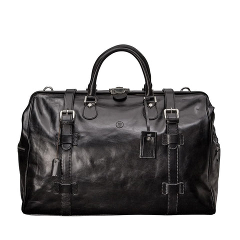 Black Gassano Medium Luxury Leather Gladstone Holdall - IndependentBoutique.com