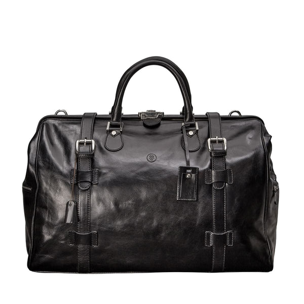 The Black Gassano Large Luxury Leather Gladstone Holdall