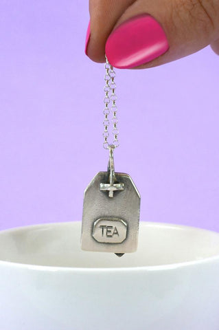 Silver Tea Bag Necklace by Bug | IndependentBoutique.com