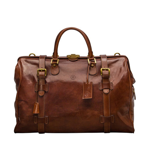 The Tan Gassano Large Luxury Leather Gladstone Holdall - IndependentBoutique.com