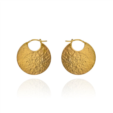 Gold disc hoop textured earrings.
