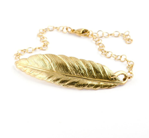 Gold Plated Feather Bracelet - IndependentBoutique.com