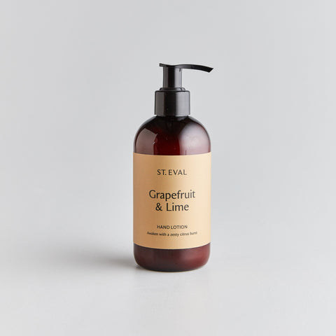 brown plastic bottle with squirt dispenser of hand lotion from St Eval in grapefruit and lime