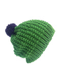Wool Green Texture Stitch Beanie With Purple Pom-Pom - IndependentBoutique.com