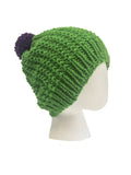 Hand Knitted Green Woolly Hat with Purple Pom-Pom by Marmalade | IndependentBoutique.com