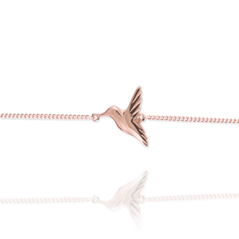 Rose Gold Hummingbird Bracelet - IndependentBoutique.com