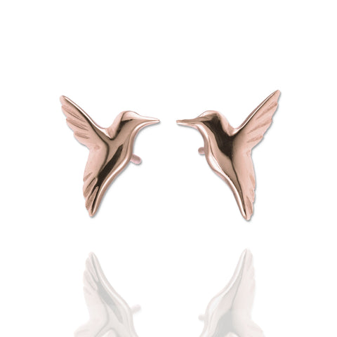 Rose Gold Hummingbird Earrings - IndependentBoutique.com