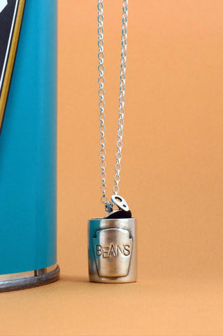Silver Can of Beans Necklace by Bug | IndependentBoutique.com