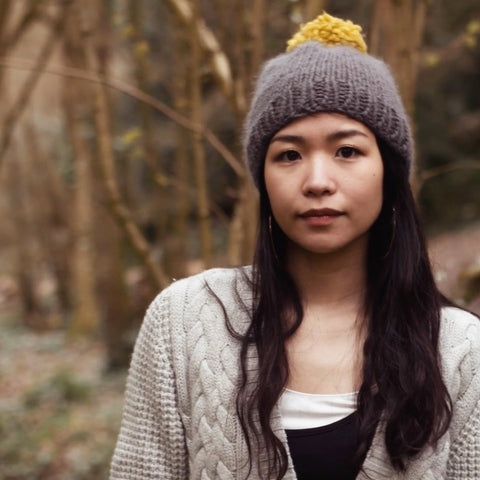 Charcoal & Mustard Woolly Knitted Beanie - IndependentBoutique.com