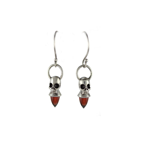 Voodoo Skull Earrings - Silver & Garnet