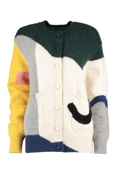 Colourblock Wool Slouch Cardigan - IndependentBoutique.com