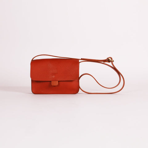 Dark orange leather should bag with magnetic closure