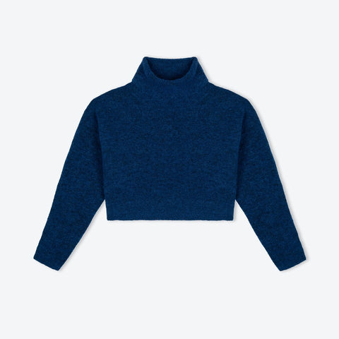 deep blue polo neck sweater in alpaca and merino blend - IndependentBoutique.com