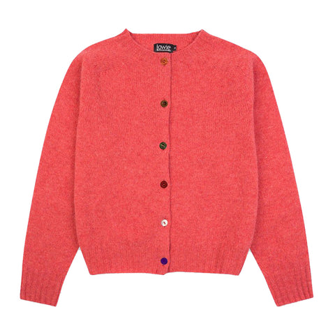 Pink lambswool round-neck cardi with various coloured buttons - IndependentBoutique.com