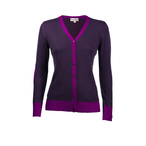Bright Purple & Aubergine Cashmere Elbow Patch Cardi - IndependentBoutique.com