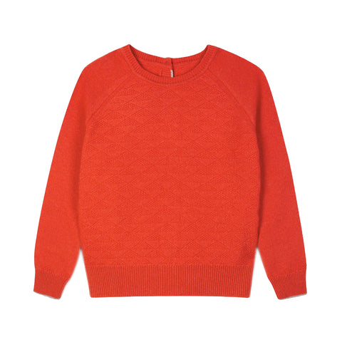 red recycled cashmere jumper cardigan front by Lowie