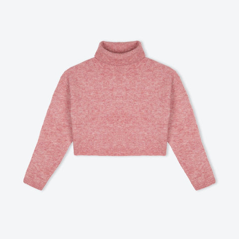 Pink melange short polo neck - IndependentBoutique.com