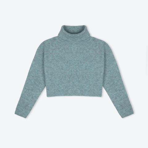 grey blue polo neck short sweater - IndependentBoutique.com