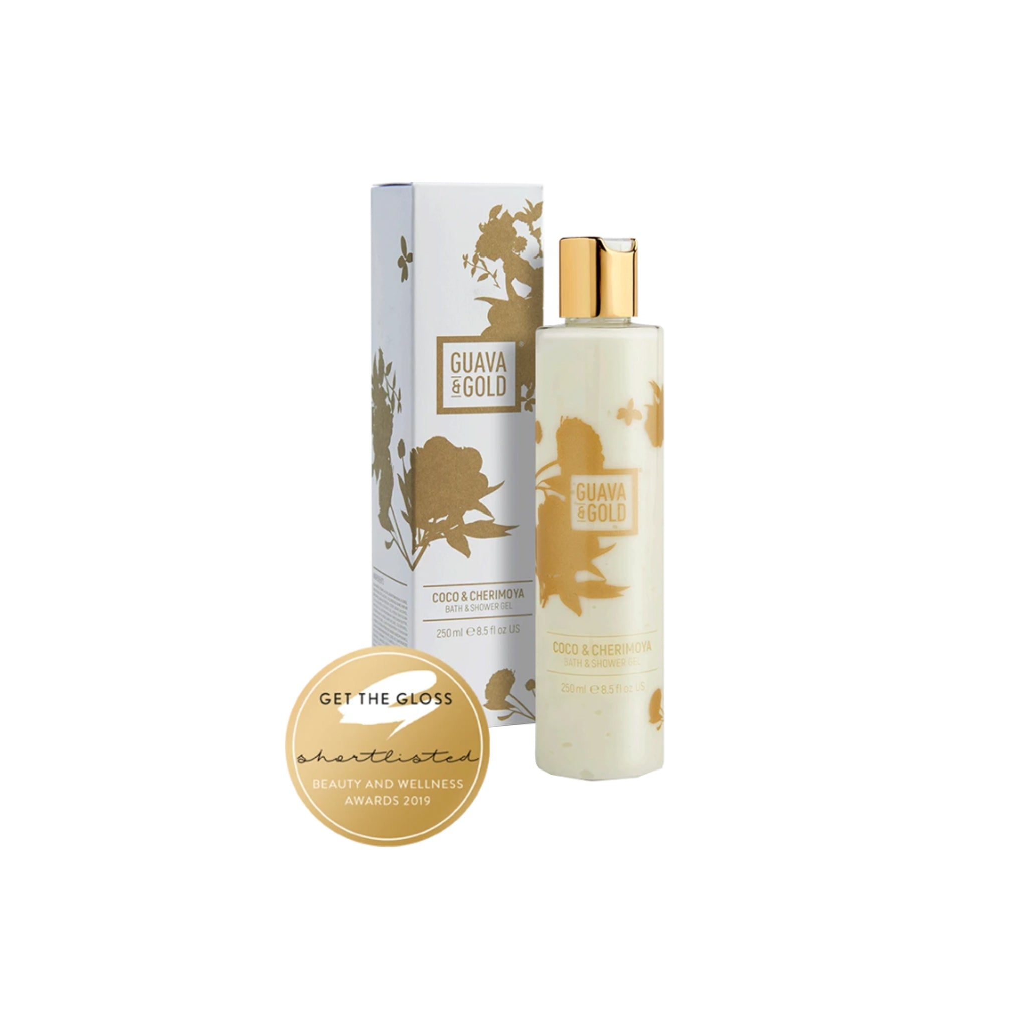 white and gold printed bottle and box of Bath and Shower gel by Guava and Gold