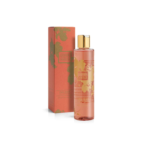 coral and gold printed bottle and box of Bath and Shower gel by Guava and Gold