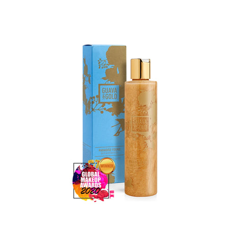 blue and gold printed bottle and box of shower gel by Guava and Gold