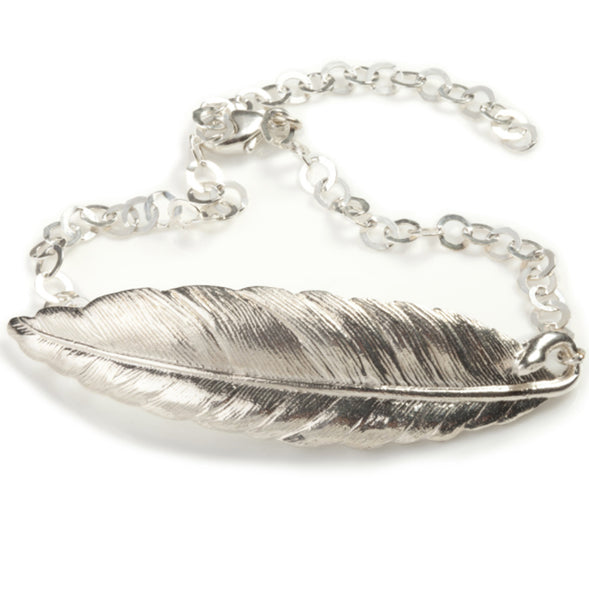 Silver Plated Feather Bracelet - IndependentBoutique.com