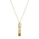 Smoky Quartz Cylinder Necklace - Gold - IndependentBoutique.com
