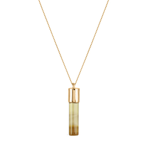 Smoky Quartz Cylinder Necklace - Gold