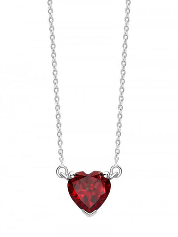 Valentines Garnet Heart Single Pendant