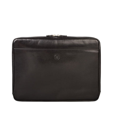 "Black Verzino 15"" Leather Laptop Case for Macbook - IndependentBoutique.com"