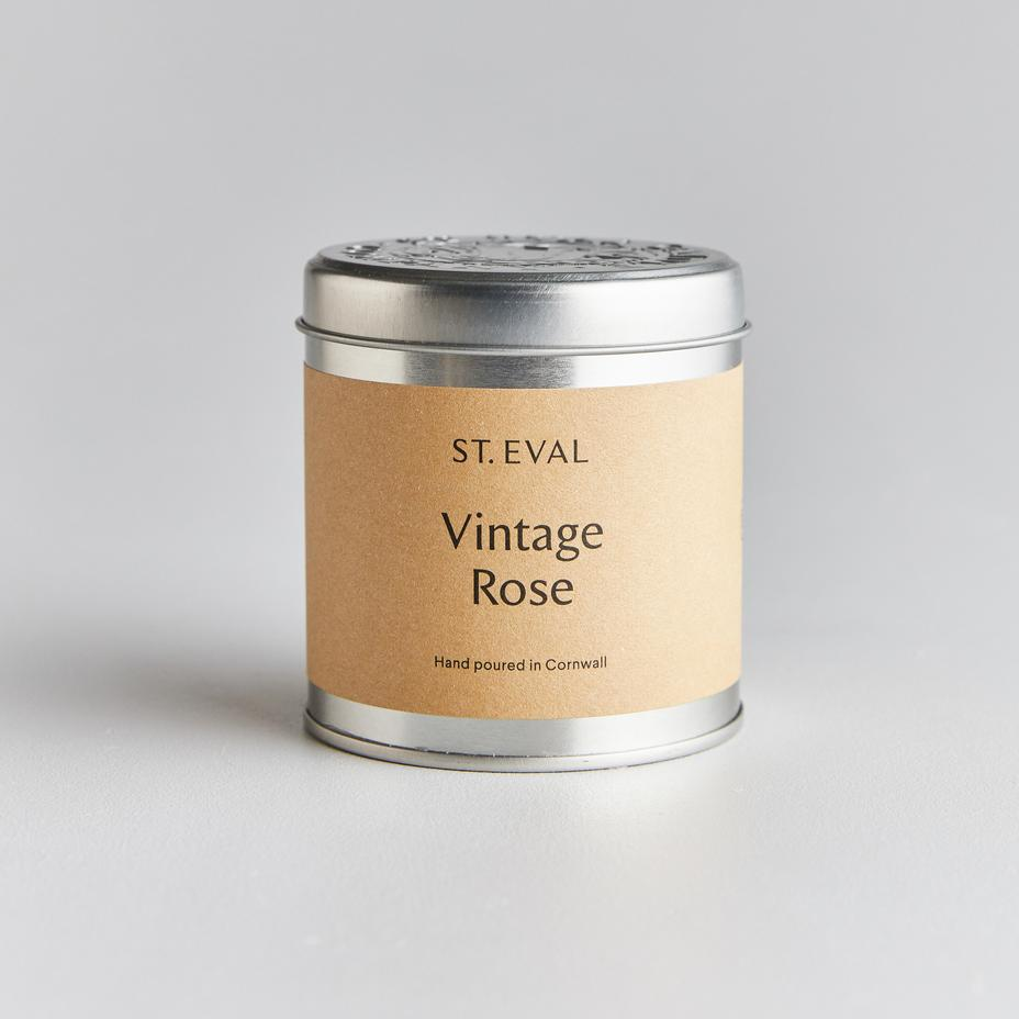 silver tin candle with lid in vintage rose from st Eval from Cornwall