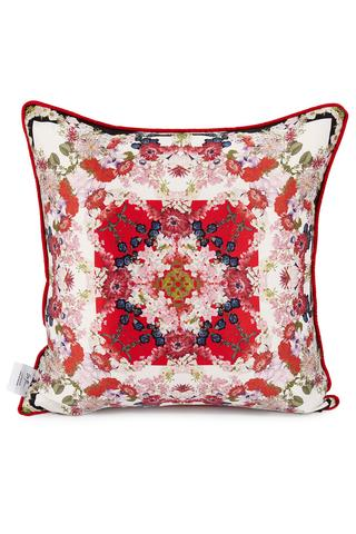 Red and white printed floral cushion in geometric print style for home furnishings