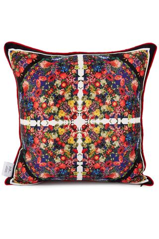 red multicoloured printed silk cushion for interiors