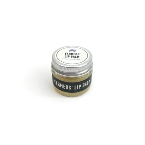 Farmers lavender lip balm in glass jar with aluminium lid